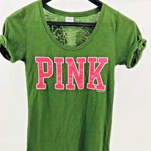Victoria's Secret PINK Green T Shirt Size Medium